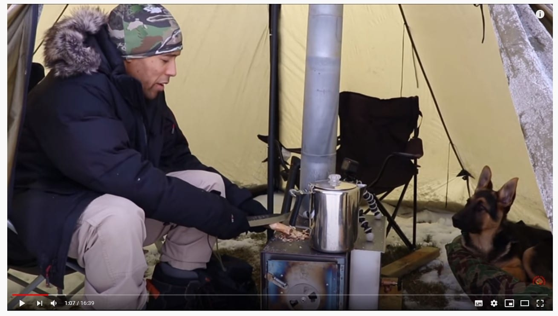 screenshot of Canadian Prepper camping in winter