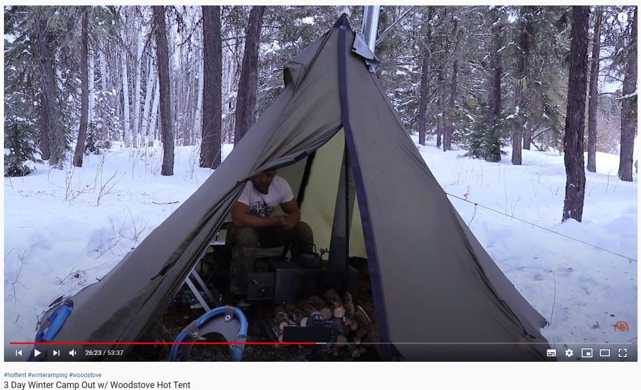 screenshot of canadian prepper in a tent