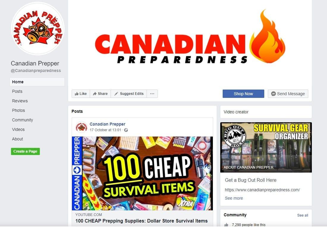 screenshot of Canadian Prepper Facebook page