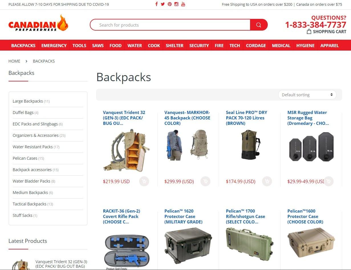 screenshot of Canadian Prepper's website