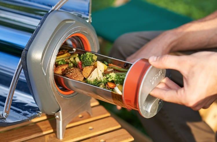 vegetables in solar oven