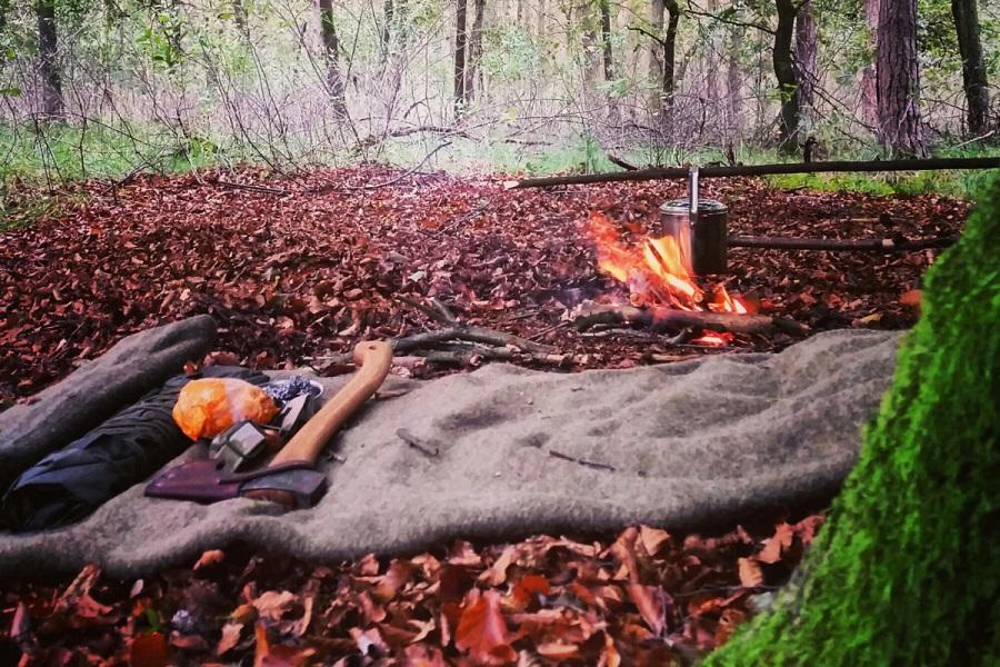survival blanket in wood