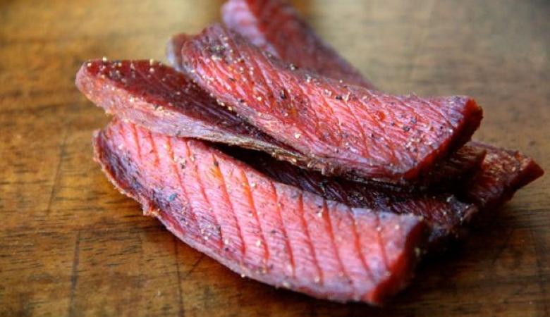 Salmon Jerky on the Table