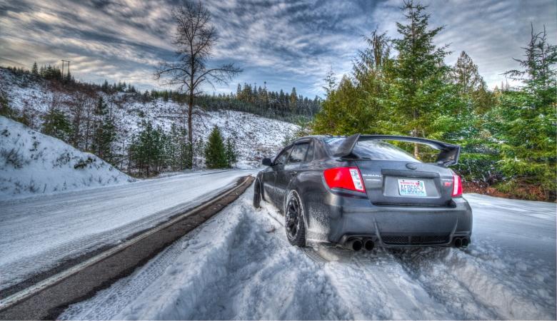 Subaru STI in Winter